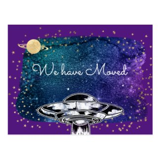 We moved - funny UFO Postcard