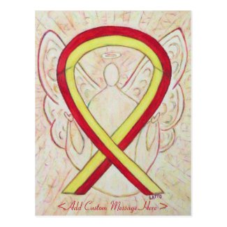 Red and Yellow Awareness Ribbon Angel Postcard