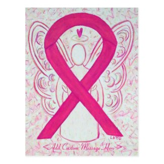 Hot Pink Awareness Ribbon Angel Postcard