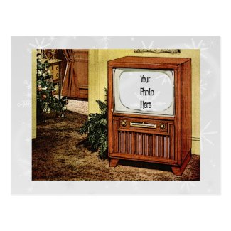 Retro 1950s Christmas TV Postcard