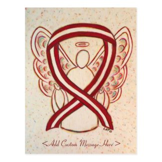 Burgundy and Ivory Awareness Ribbon Angel Postcard