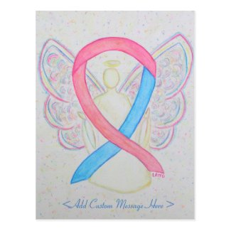 Pink and Blue Awareness Ribbon Angel Postcard