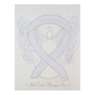 Pearl White Awareness Ribbon Angel Custom Postcard