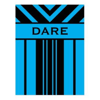 Dare Vibrant Blue and Black Stripes & Chevrons Postcard