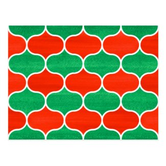 Red Green Christmas Ogee Pattern Postcard