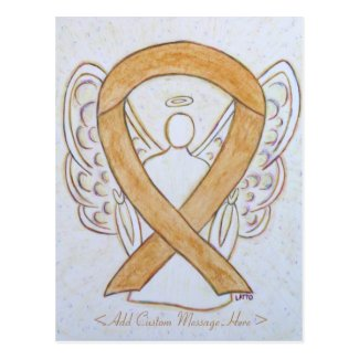 Amber Awareness Ribbon Angel Custom Art Postcard