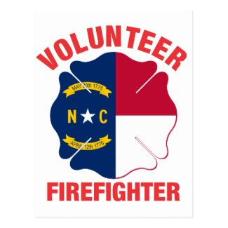 North Carolina Flag Volunteer Firefighter Cross Postcard