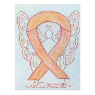 Peach Awareness Ribbon Angel Custom Postcard
