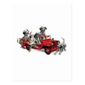 Dalmatian Pups with Fire Truck Postcard