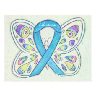 Blue Butterfly Awareness Ribbon Custom Postcard