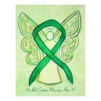 Green Awareness Ribbon Angel Custom Postcard