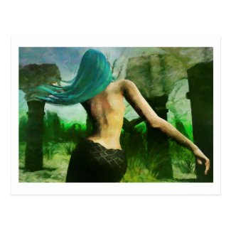 Mermaid Dreaming (impressionist style) postcard