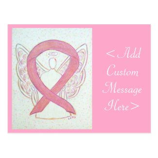 Pink Awareness Ribbon Angel Custom Art Postcard