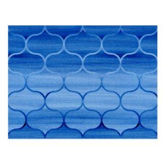 Lovely Blue Watercolor Ogee Pattern Postcard