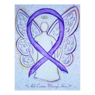 Orchid Awareness Ribbon Angel Custom Postcard