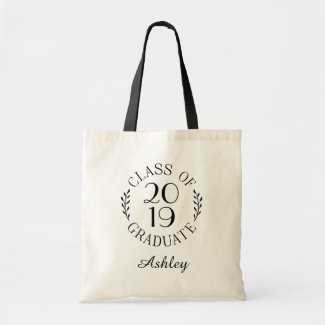 Class of 2019 Graduate Name Chic Black Typography Tote Bag