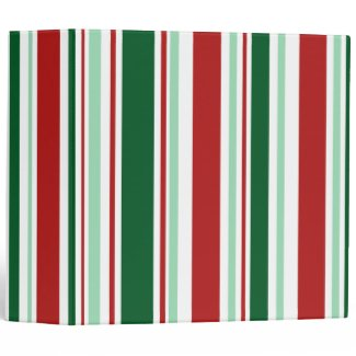 Christmas Stripes: Red/Mint Green/Dark Green/White Binder