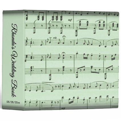 Green Sheet Music Personalized Wedding 3 Ring Binder