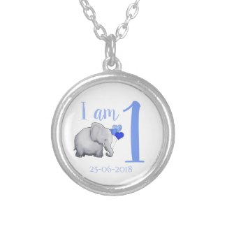 Personalized Elephant Custom Age/2nd Birthday Silver Plated Necklace