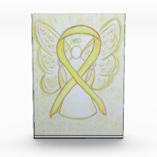 Yellow Awareness Ribbon Angel Art Paperweight Gift