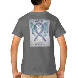 Diabetes Awareness Gray Ribbon Angel Tee