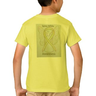 Spina Bifida Awareness Yellow Ribbon Angel Tee