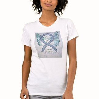 Brain Cancer Gray Awareness Ribbon Angel Shirt