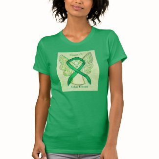 Celiac Disease Green Awareness Ribbon Angel Shirt