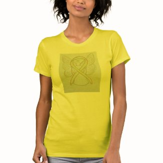 Yellow Awareness Ribbon Angel Custom Art T-Shirt