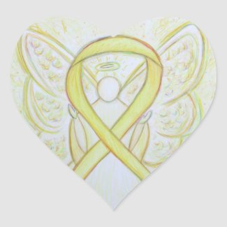 Yellow Awareness Ribbon Angel Custom Art Stickers
