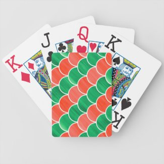 Large Print Red Green Painted Geometric Pattern Bicycle Playing Cards