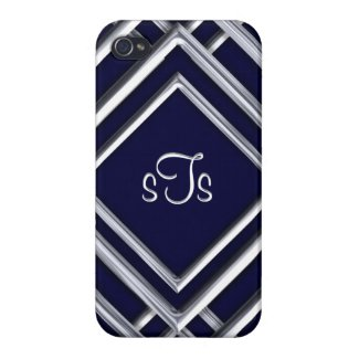 Modern Royal and Silver Diamond Monogram Covers For iPhone 4