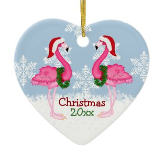 Christmas Pink Flamingo Wearing Santa Hats Ceramic Ornament