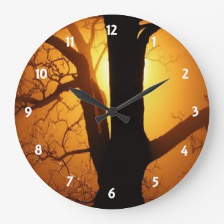 Autumn Moon Shining Through the Tree Wall Clock