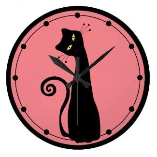 *Custom Color* Black Cat Wall Clock