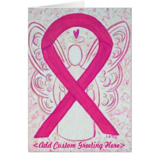 Hot Pink Awareness Ribbon Angel Custom Card