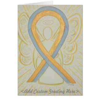 Gray and Gold Awareness Ribbon Angel Custom Card