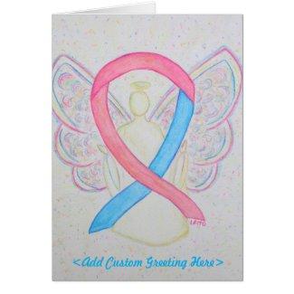 Pink and Blue Awareness Ribbon Angel Greeting Card