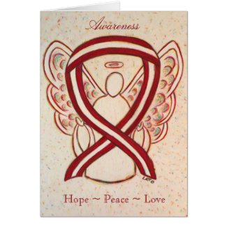 Burgundy and Ivory Awareness Ribbon Greeting Card