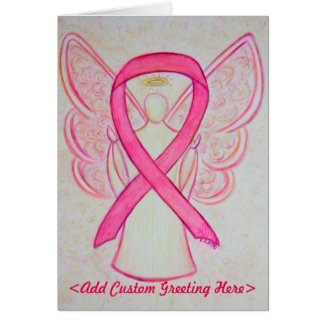 Pink Awareness Ribbon Angel Custom Greeting Card