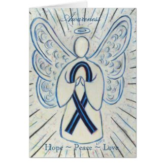 Blue and Black Awareness Ribbon Greeting Card