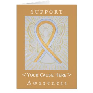 Silver and Gold Awareness Ribbon Customized Card