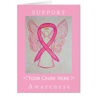 Pink Awareness Ribbon Angel Customized Card