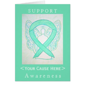 Jade Green Awareness Ribbon Angel Customized Card