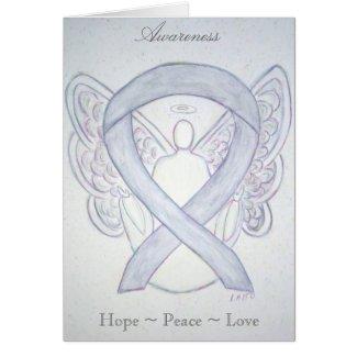 Gray Awareness Ribbon Angel Holiday Greeting Card
