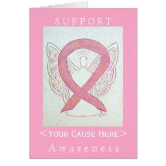 Pink Awareness Ribbon Angel Customized Card