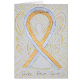 Silver and Gold Awareness Ribbon Greeting Card