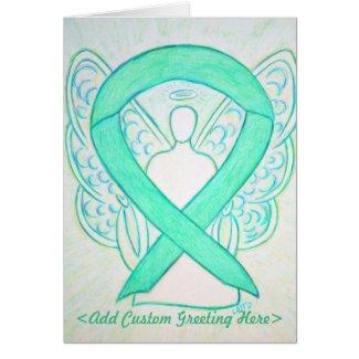 Jade Green Awareness Ribbon Angel Greeting Card