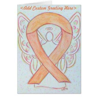 Peach Awareness Ribbon Angel Custom Greeting Card