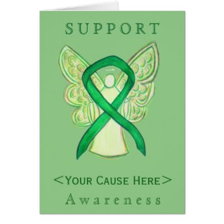 Green Awareness Ribbon Angel Customized Card